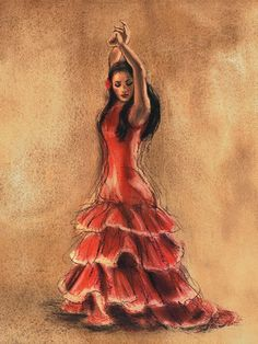 Tangletown Fine Art Flamenco Dancer I by Caroline Gold Fine Art Giclee Print on Gallery Wrap Canvas, 18 x 24 Little Red Dress, Chanel Little Black Dress, Painting Prints, Canvas Art Prints, Framed Canvas, Arte Latina, Spanish Dancer, Spanish Art, Dance Paintings