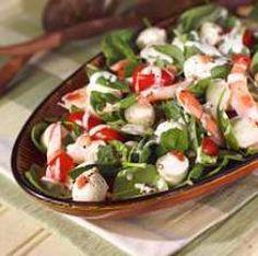 Fresh Mozzarella Spinach Salad with Shrimp, Bacon and Creamy Ricotta Dressing: Fresh Mozzarella Sliced Log, Bacon, Baby spinach, stemmed, mayo, Ricott
