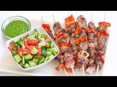 Easy Lamb Kabobs Recipe with Sauce and Salad - YouTube