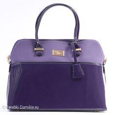 Nowa kolekcja: #torebki David Jones - kuferek w kolorze fioletowym, lakierowany, elementy metalowe złote. Wymiary 37 na 28 centymetrów. Więcej zdjęć: http://bit.ly/1DUnESk
