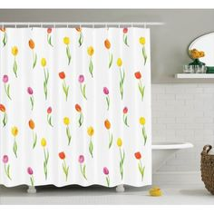 Watercolor Flower Decor Colorful Tulips Pattern Country Style Floral Home Effect Art Print Bathroom Accessories 69W X 84L Inches Extra