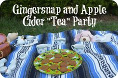 Fall themed update of our typical afternoon tea party- a Gingersnap and apple cider  party