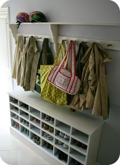 Home Decor Best shoe storage bench DIY porch ideas # Bank . Coat And Shoe Storage, Shoe Storage Bench Entryway, Mudroom Cubbies, Porch Storage, Hallway Storage, Ikea Storage, Bedroom Storage, Storage Ideas, Cubby Bench