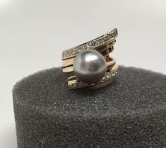 18K Grey Akoya Pearl Diamond Ring Size 6 25 with COA | eBay