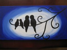 Love love! bird, love birds, tree, painting on canvas, blue, white, black, colorful, original, painting, art, canvas, tree.