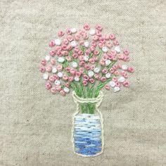 "81 Likes, 6 Comments - 프롬유_자수일기 (@fromyou_embroidery) on Instagram: "". 새로산 밀리너바늘 케이스 만드려고  #핑크핑크 #안개꽃 수놓음  . #프랑스자수 #손자수 #자수타그램 #꽃 #embroidery #handstitch #handmade…"""