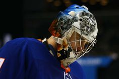 NEW YORK, NY - DECEMBER 16: Thomas Greiss #1 of the New York Islanders skates against the Los Angeles Kings at Barclays Center on December 16, 2017 in New York City. New York Islanders defeated the Los Angeles Kings 4-3 in Overtime. (Photo by Mike Stobe/NHLI via Getty Images)