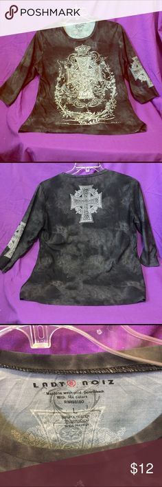 Cross studded top Black cross studded 3/4 length shirt studded cross in front and back Tops Tunics