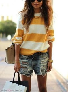 Mustard yellow stripes love this sweater looks great for fall