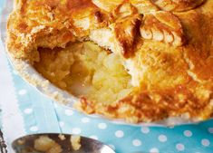 Easy to make pastry with a fruity filling and topped with pastry leaves. Served with custard or cream this is a favourite family pudding.