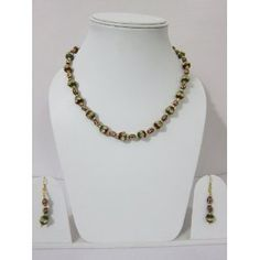 Red Tones Lakh Beads Necklace Exclusive White Stone Studded Jewelry Set (Jewelry)    On sale now.