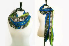 Blue Green Black & White African Tribal Print by BrookandEnvy