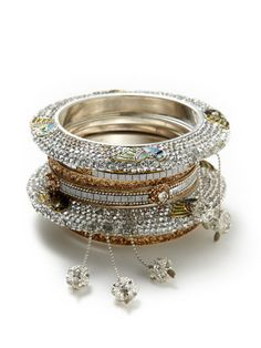 Set Of 7 Gold & Clear Crystal Peacock Bangle Bracelets by Chamak by Priya Kakkar on Gilt.com