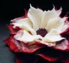 Red Cream Felt Flower Brooch by Brigite on Etsy