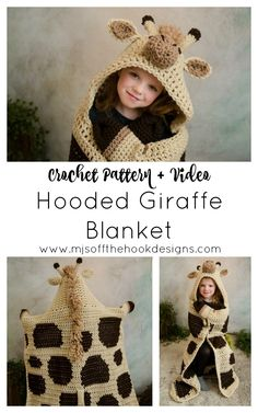 Ravelry: Hooded Giraffe Blanket pattern by MJ's Off The Hook Designs Yarn Projects, Knitting Projects, Crochet Projects, Crochet Patron, Knit Crochet, Manta Animal, Halloween Meme, Giraffe Blanket, Giraffe Costume