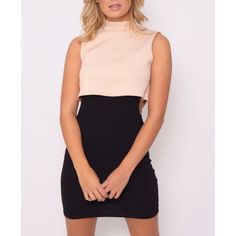 Rare London - Dress  High Neck Cut Out Side Shift - 1001noches