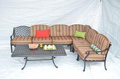 Nassau Outdoor Patio Set 6pc Sectional Seating Group Dark Bronze Cast Aluminum Walnut Cushions *** Click for more Special Deals #Decor#HomeDecor#DecorIdeas#HomeDecorations