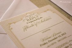 Patterns play into this feminine invitation to give it a more modern vibe, by Zenadia Design.