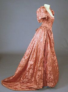 Persimmon Silk Ball Gown,    c.1895