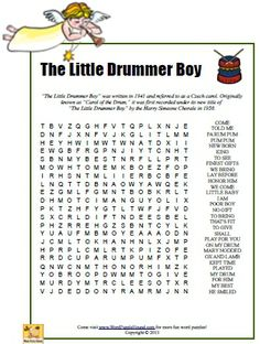 The Little Drummer Boy Word Search - printable Christmas puzzle Christmas Puzzle, Christmas Words, Christmas Colors, Kids Christmas, Christmas Crafts, Xmas Games, Christmas Party Games, Holiday Fun, Holiday Games