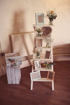 Homemade Mint Blush Hop Farm Wedding Ladder Table Plan http://www.rebeccadouglas.co.uk/blog/