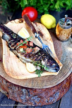 (in Polish) Grilled Trout, Butcher Block Cutting Board, Seafood Recipes, Steak, Grilling, Polish, Summer, Fotografia, Vitreous Enamel