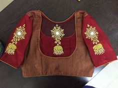 Designer blouse with heavy hand made work