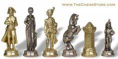 Chess.  Napoleon Theme Chess Set Model 57 Brass & Nickel by Italfama.  http://www.thechessstore.com/product/MS057MIT/Napoleon-Chess-Set.html