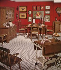 Early American bicentennial dining room from a mid 70s Ethan Allen catalog.