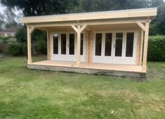 6m x 6m Log cabin with canopy! Garden Log Cabins, Double Doors, Canopy, Gazebo, Shed, Outdoor Structures, Kiosk, Garden Buildings Direct, Pavilion