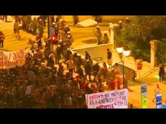 Huge Riots Between Protesters and Police Outside Parliament Athens Greec...