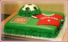 Soccer-themed birthday cake