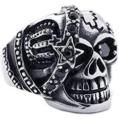 KONOV Gothic Skull Cubic Zirconia Stainless Steel Men's Biker Ring, Silver Black