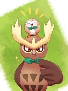Noctowl & Rowlet by Amemati_0