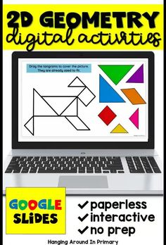 Take your 2D geometry tasks online with these digital activities for google slides. Students fill in text boxes and drag and drop items to show their answers. Students match 2D shapes and their attributes and pictures of real world objects. Students will sort shapes into categories they decide. Your students will be engaged and you will appreciate the fact that it is no prep for you! Teaching First Grade, Teaching Math, Maths, Geometry Activities, Math Activities, Kids Math Worksheets, Teacher Resources, Shape Sort, Teacher Inspiration