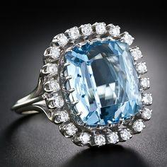 Aquamarine and Diamond Ring - Lang Antique & Estate Jewelry
