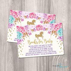 INSTANT DOWNLOAD - Bring a book inserts, unicorn bring a book, unicorn baby shower books for baby, gold unicorn glitter printable DIY file
