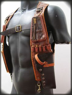 Leather Gun Holster with Pouches