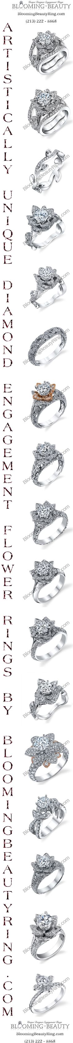 A sampling of our flower rings collection at BloomingBeautyRing.com  (213) 222-8868  #FlowerRings