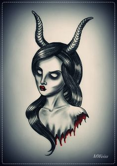 devil chicks | Bleeding Devil Girl Tattoo Flash