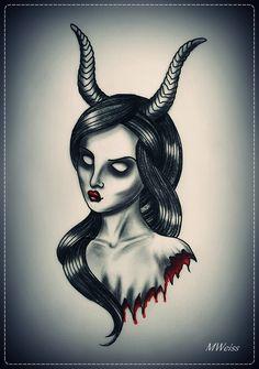 devil chicks | Bleeding Devil Girl Tattoo Flash