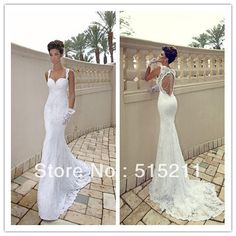 Custom Made Sexy Spaghetti Strap Sweetheart  Ivory Lace Open Back Mermaid Wedding Dress 2013 New Arrival Free Shipping DHL $225.00