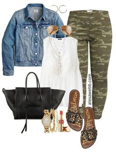 Plus Size Camo Pants Outfit Ideas - Casual for Summer into Fall - White Babydoll Top and Denim Jacket with Leopard Slide Sandals and Celine Phantom Tote - Alexa Webb #plussize #alexawebb Camo Outfits, Mode Outfits, Casual Outfits, Fashion Outfits, Fashion Blogs, Casual Attire, Steampunk Fashion, Gothic Fashion, Fasion