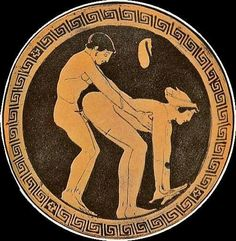 Enfia que cabe mais.  Cena de sexo entre cliente e prostituta na Grécia Antiga retratada num Kylix (copo de beber vinho). fonte:http://memesilustrados.tumblr.com/