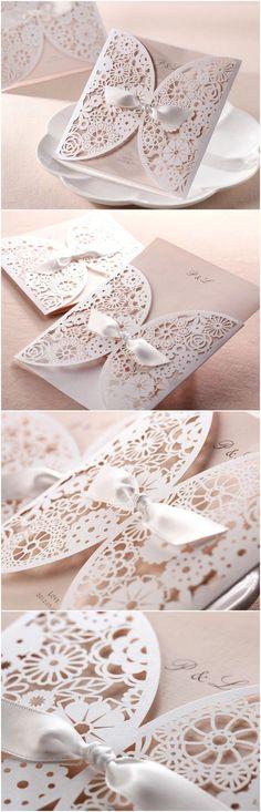 Faire-part effet dentelle pour mariage romantique 2015 Trending Elegant Laser Cut Wedding Invitations