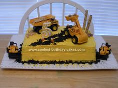 Homemade Construction Cake: This Construction cake was the very first cake I had ever made.  I made it for my nephew who was turning five. He wanted a Bulldozer cake, so I looked