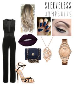 """""""Untitled #486"""" by lynx-lupus on Polyvore featuring Balmain, Jimmy Choo, Mehron, Lime Crime, GUESS, LE VIAN, Chanel and sleevelessjumpsuits"""