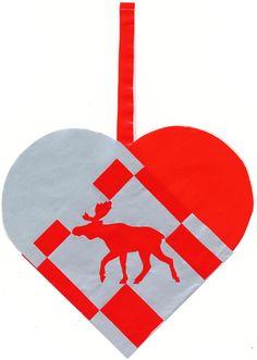 Flettet julehjerte med elg