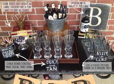 Masculine Bar Display 40th birthday party & 40th Birthday Party Idea for a Man   Pinterest   40th birthday ...