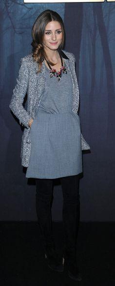 Olivia Palermo's grey jersey dress. www.handbag.com